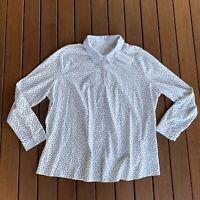 New Woolovers Plus Size XXL Button Down Shirt Shadow Spot Print Jersey Collar