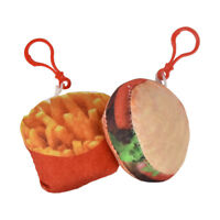 2 Keychains 1 Burger and One Fries Backpack Charm Plush Unique Kids Key Chains