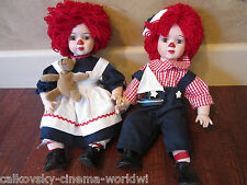 Vintage Porcelain Pair Raggedy Ann dolls Glass Eyes eyelashes! collectible doll