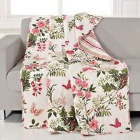 Quilted Throw Pink Butterflies Floral Butterfly Home Bed Blanket Cover GIFT