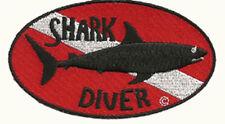 SCUBA DIVE PATCH - SHARK DIVER PATCH-  STICK ON BACKING   -            GEN1913