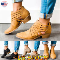 Women's Low Mid Block Heel Ankle Boots Zipper Chunky Casual Booties Shoes Size