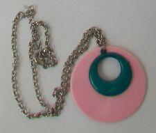 Retro Rosa Y Turquesa Collar Colgante de plástico