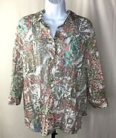 Chicos Womens Size 1 Blouse Multicolor Pink Tan White Floral Button Down Shirt