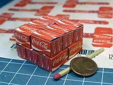 """12 Kartons """"Cola"""" in 1:24-1:25 für Diorama, Slotbahn, Ladegut, Werkstatt"""
