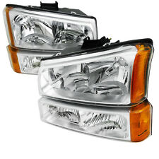 03-06 Chevy Silverado 1500/2500/3500 HD Headlights + Bumper Light Chrome Amber