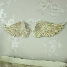 Cream resin wall art hanging angel wings shabby vintge chic cherub bedroom hall