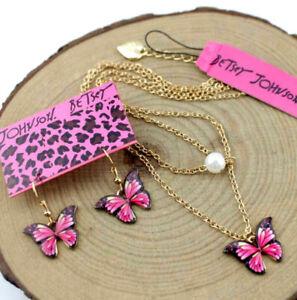 Set Jewelry Betsey Johnson Enamel Pendant rhinestone pearl butterfly necklaces