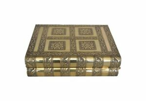 Large Indian Style Antique Gold Embossed Metal Locking Jewellery Box