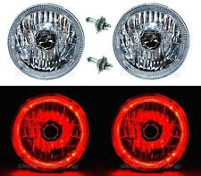 "7"" Halogen H4 12V Headlight Headlamp Red LED Halo Angel Eyes Light Bulbs Pair"