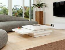 Couchtisch 120X80 cm Wohnzimmermöbel Wohnzimmertisch 360° drehbar weiß