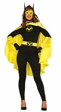 Womens Black Bat Super Hero Fancy Dress Costume Ladies Outfit