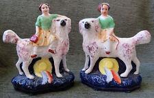 ANTIQUE Pre 1900 PAIR STAFFORDSHIRE FIGURINES FEMALE GIRLS SPANIEL DOGS