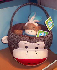 New Dan Dee Collector's Sock Monkey Plush Basket Tote & Dan Dee Sock Monkey NWT