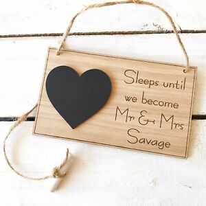 Personalised Wedding Countdown Plaque Sign Chalkboard Engagement Oak Gift Mr Mrs