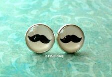 Mustache Black and white Cabochon Stud earrings ,Cute Gift Idea