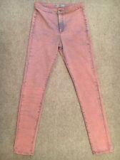 Topshop Joni Acid Wash Pink Skinny Jeans Size 34W 34L