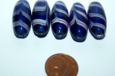 5 x cobalto Blue Feather beads/5 x kobaltblaue perla de vidrio con resorte