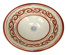 #019 LARGE BATHROOM SINK 21X17 MEXICAN CERAMIC HAND PAINT DROP IN UNDERMOUNT