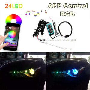 2x 12V RGB LED Car Devil Eye Lamp Projector Headlamp 20CM Angles Eye App Control
