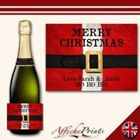 L87 Personalised Merry Christmas Santa Prosecco Brut Bottle Label - Perfect Gift