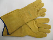 Gloves Leather Pruning Gauntlets Safety Cuffs Tough Hard Wearing For Gardening