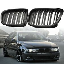 Matte Black Twin Dual Line Grill Grille For BMW E39 5 Series 525 528 1995-2004