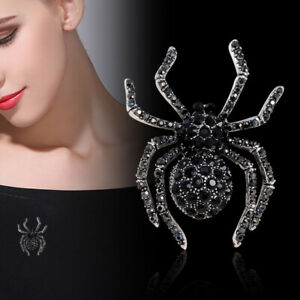 Vintage Female Spider Brooch Pin Crystal Jewelry Halloween Party Decoration