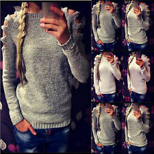 AU Women Cut Out Long Sleeve Jumper Pullover Top Knitted Casual Knitwear Sweater