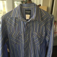 Vintage Wrangler Mens M Striped Shirt Blue Yellow Pearl Snaps