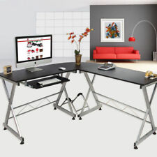 L-Shape Corner Computer Desk Laptop PC Table Wood Workstation Home Office Black
