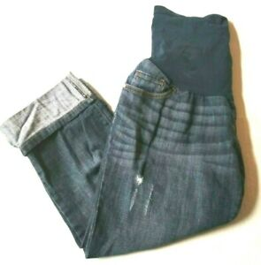 Indigo Blue Women's Maternity Jeans Size Cropped Distressed 5 Pockets Full Panel