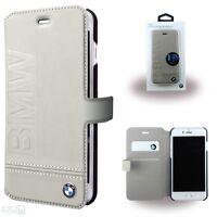 BMW Echtleder Handy Cover iPhone 7, 8, 6, 6s, Book Case Schutzhülle Tasche beige