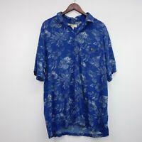 Joe Marlin Size L Blue Hawaiian button down shirt Sleeve Collared rayon