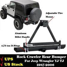 Rock Crawler Rear Bumper w/ Tire Carrier D-Rings For 87-06 Jeep Wrangler YJ TJ