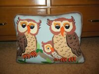 Vintage Needlepoint Owl family pillow 17 x 14 down feathers, velveteen backing