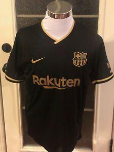 FC Barcelona #10 Lionel Messi Black & Gold Nike Away Jersey