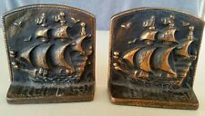 2- Vintage Cast Iron Nautical/ Sailing Ship Bookends☆Signed-NOVELTY MFG. CO.☆EXC