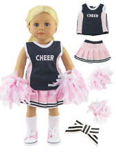 """4 Piece Pink Navy Blue Cheerleader Outfit For 18"""" American Girl Doll Clothes"""