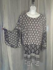 Tacera Womens Plus size 2x Black White Long Sleeve Dress Flared Sleeve
