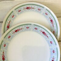 2 Vintage China by Made-In-China Blue Scroll Pink Rose Gold Trim Dinner Plates