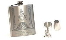 PERSONALISED MASONIC GIFT HIP FLASK DRINKING SET WITH FREE ENGRAVING