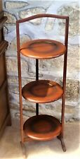 Vintage Three Tier Folding Wooden Cake Stand as pictured