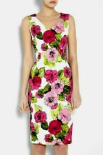 Dolce & Gabbana D&G floral roses Print stretch cotton pencil dress IT40UK8US4
