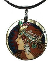 Mother of Pearl Russian Hand Painted Pendant Necklace Art Nouveau style #0929.19