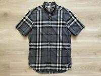 Burberry Brit Exploded Nova Check Short Sleeve Men's Shirt Grey Size- Medium (M)