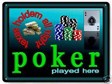 POKER chips METAL sign CASINO / funny poker room retro mancave wall decor 498