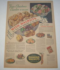 Old Vintage 1936 DIAMOND WALNUTS - Poster-Size Advertisement - Christmas Candies