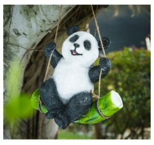 Panda on Swing Hanging Ornament Statue Figurine Sculpture Garden Decor  24 cm