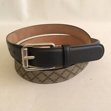 NWT Gucci Men's 268648 Sz 44 Beige Coated Canvas & Black Leather Diamante Belt